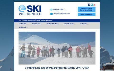 Screenshot of Home Page skiweekender.com - Ski Weekends, Hassle-Free Short Breaks & Mid Week Skiing in France - captured Nov. 14, 2017