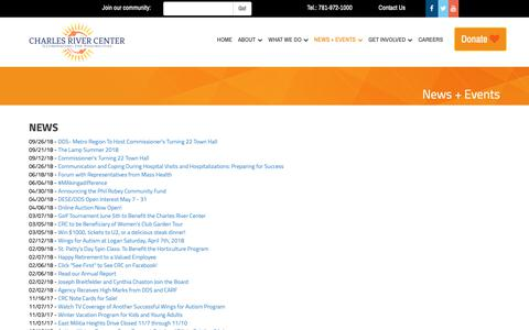 Screenshot of Press Page charlesrivercenter.org - News + Events | Charles River Center - captured Oct. 18, 2018