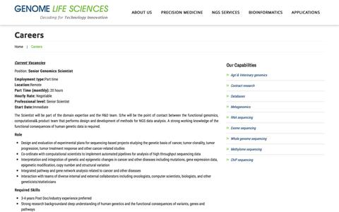 Screenshot of Jobs Page genomels.com - Careers  |  Genome Life Sciences - captured Oct. 2, 2014