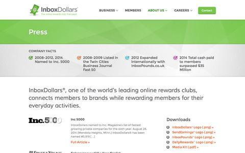 Screenshot of Press Page inboxdollars.com - Press - captured Sept. 18, 2014