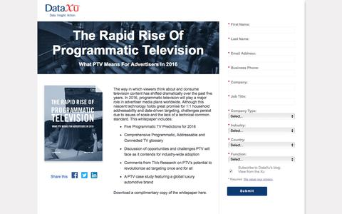 Screenshot of Landing Page dataxu.com - Rapid Rise of Programmatic Television For Advertisers 2016 - captured March 24, 2016