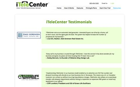 Screenshot of Testimonials Page itelecenter.com - Testimonials | iTeleCenter - captured Sept. 25, 2014