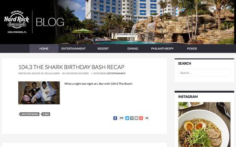 Screenshot of Blog seminolehardrockhollywood.com - Seminole Hard Rock Hollywood Blog - captured Sept. 3, 2016