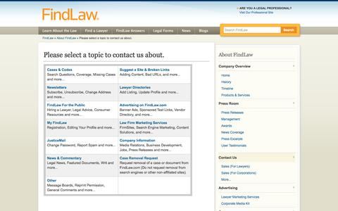 Screenshot of Contact Page findlaw.com - Please select a topic to contact us about. - FindLaw - captured Sept. 6, 2016