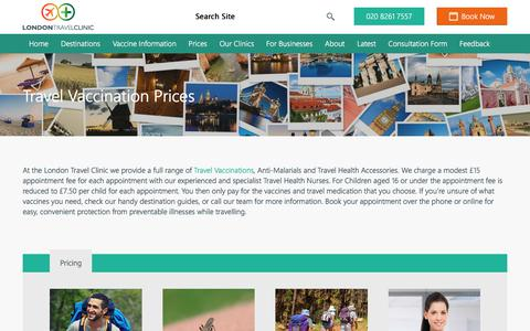 Screenshot of Pricing Page londontravelclinic.co.uk - Travel Vaccination Prices | London Travel Clinic - captured July 23, 2018