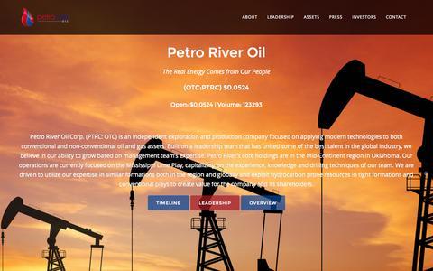 Screenshot of Home Page petroriveroil.com - Petro River Oil - captured Sept. 29, 2014
