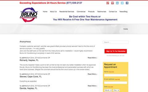Screenshot of Testimonials Page brunoair.com - Testimonials Archive - Bruno Air Conditioning - captured Oct. 5, 2014