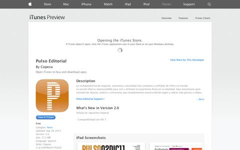 Screenshot of iOS App Page apple.com - Pulso Editorial on the App Store on iTunes - captured Oct. 22, 2014