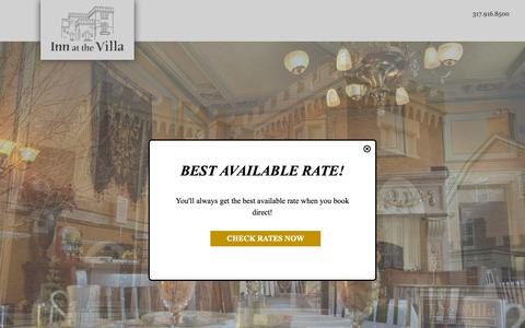 Screenshot of Home Page thevillainn.com - Inn at the Villa: Bed and Breakfast in Indianapolis - captured Nov. 19, 2018