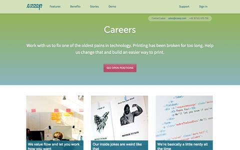 Screenshot of Jobs Page ezeep.com - Careers . ezeep - captured Sept. 16, 2014
