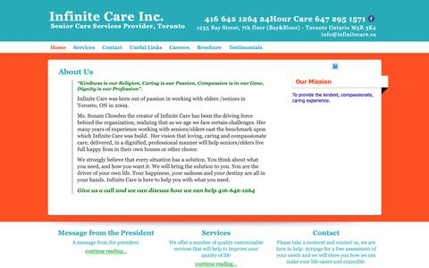 Screenshot of About Page infinitecare.ca - About  Infinite Care - captured Nov. 12, 2018