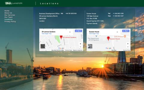 Screenshot of Locations Page lainston.com - Location - Lainston   Offshore Independent Directors - captured July 15, 2018