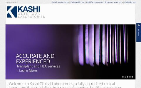 Screenshot of Home Page kashilab.com - Home - Kashi Clinical Laboratories - captured Oct. 6, 2014