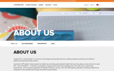 Screenshot of About Page aliph.com - Jawbone® | About The Company - captured Oct. 31, 2014