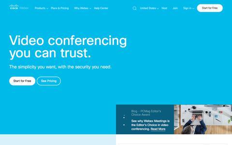 Screenshot of Home Page webex.com - Video Conferencing, Online Meetings, Screen Share | Cisco Webex - captured Sept. 29, 2019