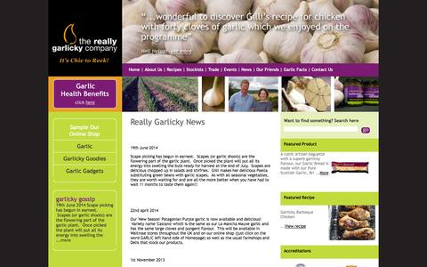 Screenshot of Press Page reallygarlicky.co.uk - News, The Really Garlicky Company News, Garlic News - captured Oct. 7, 2014