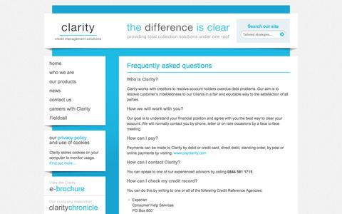 Screenshot of FAQ Page claritycreditmanagement.co.uk - Frequently asked questions : Clarity Credit Management - captured Sept. 29, 2014