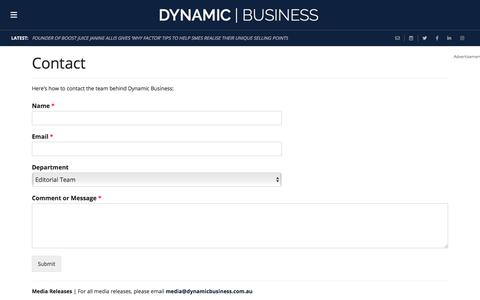 Screenshot of Contact Page dynamicbusiness.com.au - Contact - Dynamic BusinessDynamic Business - captured Aug. 21, 2019