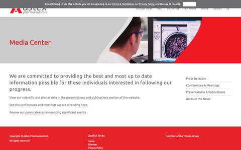 Screenshot of Press Page astx.com - Media Center – Astex - captured Oct. 4, 2018