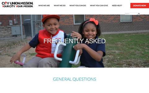 Screenshot of FAQ Page cityunionmission.org captured July 18, 2018