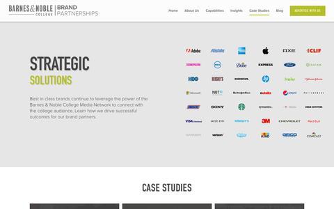 Screenshot of Case Studies Page bncollege.com - Case Studies - Barnes & Noble College Brand Partnerships - captured Oct. 10, 2017
