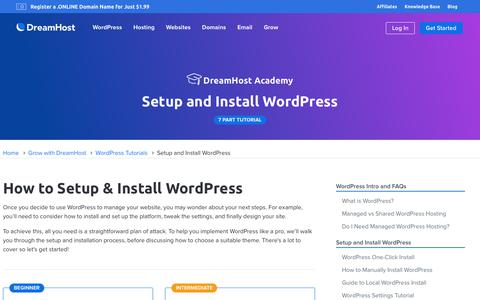 Screenshot of Blog dreamhost.com - How to Set Up and Install WordPress  – DreamHost - captured Feb. 21, 2020