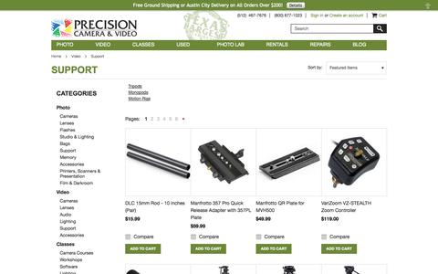Screenshot of Support Page precision-camera.com - Video - Support - Precision Camera Store - captured Sept. 22, 2014