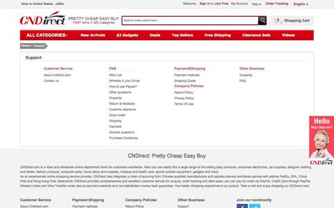 Screenshot of Support Page cndirect.com - Support - captured Sept. 24, 2014