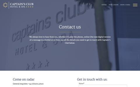 Screenshot of Contact Page captainsclubhotel.com - Captain's Club Christchurch - Contact Us - captured Dec. 7, 2015