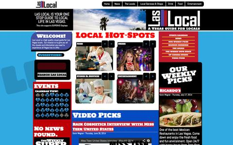 Screenshot of Home Page laslocal.com - Las Local - A Vegas Guide for Locals - captured Sept. 30, 2014