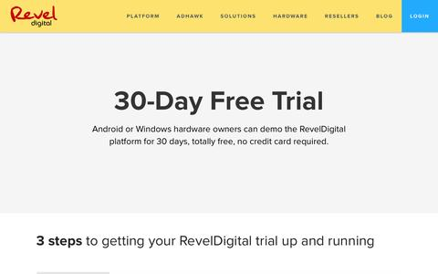 Screenshot of Trial Page reveldigital.com - RevelDigital - 30 Day Free Trial - captured Dec. 17, 2016