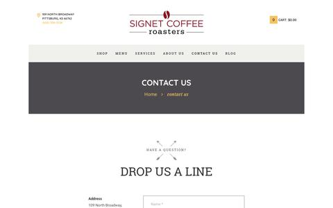 Screenshot of Contact Page signetcoffee.com - contact us - Signet Coffee Roasters - captured Nov. 3, 2017