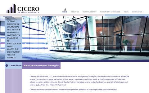 Screenshot of Home Page cicerocapitalpartners.com - Strategic Alternative Investments | Cicero Capital Partners - captured Sept. 25, 2018