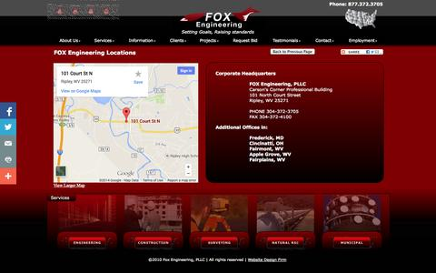 Screenshot of Locations Page foxengineering.net - Fox Engineering Locations - captured Oct. 5, 2014
