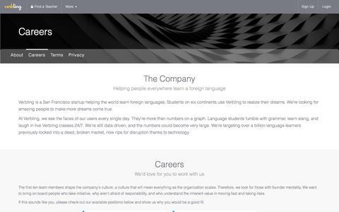 Screenshot of Jobs Page verbling.com - Jobs | Verbling - captured July 4, 2016