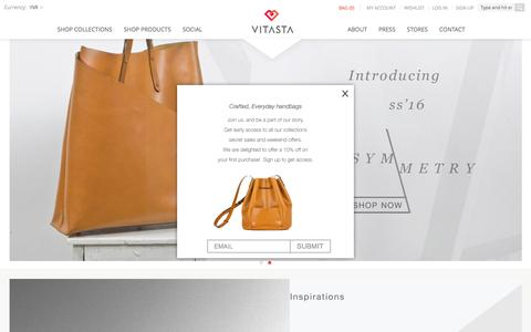 Screenshot of Home Page vitastadesign.com - Vitasta | Everyday Luxury | Designer Handmade Bags | Travel Bags Delhi,India - captured March 23, 2016