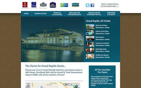 Screenshot of Home Page hotelsgrandrapidsmichigan.com - Hotels Grand Rapids Michigan   One Great City, 6 Great Grand Rapids Hotels - captured Oct. 3, 2014
