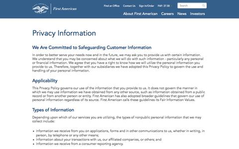 Screenshot of Privacy Page firstam.com - Privacy Information | First American - captured March 6, 2016