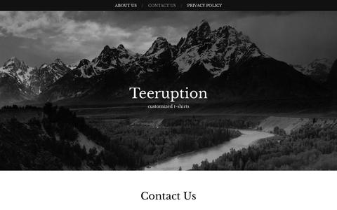 Screenshot of Contact Page teeruption.com - Contact Us - Teeruption - captured March 3, 2016