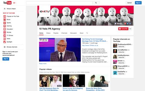 Screenshot of YouTube Page youtube.com - 10 Yetis PR Agency  - YouTube - captured Oct. 26, 2014