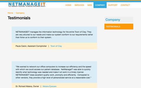 Screenshot of Testimonials Page netmanageit.com - Testimonials | NetManageIT - captured Feb. 26, 2016