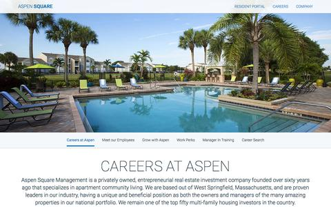 Screenshot of Jobs Page aspensquare.com - Property Management Careers & Job Opportunities | Aspen Square - captured Sept. 23, 2018