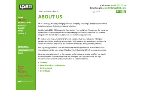 Screenshot of About Page intelpackltd.com - About us - intelligent packaging solutions company North East - captured Oct. 6, 2014