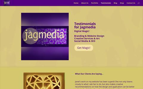 Screenshot of Testimonials Page jagmedia.net - Testimonials for Jagmedia.net Branding, Design & Brand Coaching in Venice, Culver City, Santa Monica | Jagmedia | Venice Beach Website Design | Wordpress Websites | Branding Design - captured Sept. 20, 2018