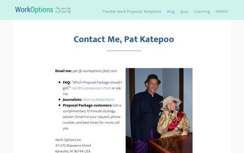 Screenshot of Contact Page workoptions.com - Contact Pat Katepoo of WorkOptions.com - captured June 27, 2018