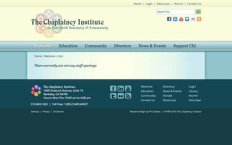 Screenshot of Jobs Page chaplaincyinstitute.org - The Chaplaincy Institute   Job Opportunties - captured Feb. 25, 2016