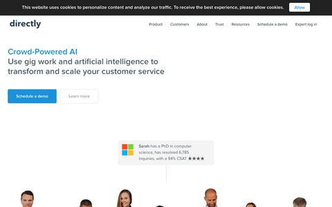 Screenshot of Home Page directly.com - Directly | Crowd-Powered AI for Customer Service - captured June 17, 2018