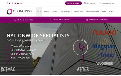Screenshot of Home Page cjcoatings.co.uk - On Site Spraying, Coatings & Cladding, National Paint Sprayers - captured July 9, 2016