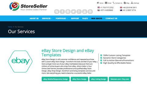 Screenshot of Services Page estoreseller.com - eStore Seller Services | eBay Stores | Amazon | Magento Store Design - captured Nov. 5, 2018