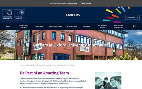 Screenshot of Jobs Page ox.ac.uk - Be Part of an Amazing Team - Oxford University Innovation - captured Oct. 13, 2018